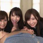3人の美人痴女がかわるがわるフェラチオしちゃうwww